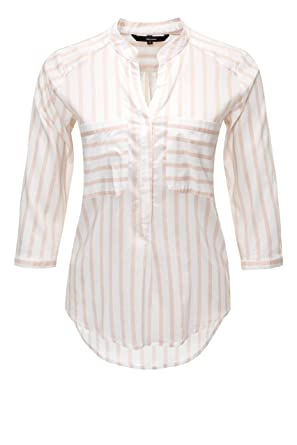 62932af46807 VERO MODA - Chemisier - À Rayures - Col Mao - Manches 3 4 - Femme ...