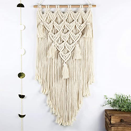 Abetree Macrame Woven Wall Hanging Tapestry Tassel Love Boho Chic Handmade Bohemian Home Geometric Art Apartment Dorm Room Nursery Party Decoration