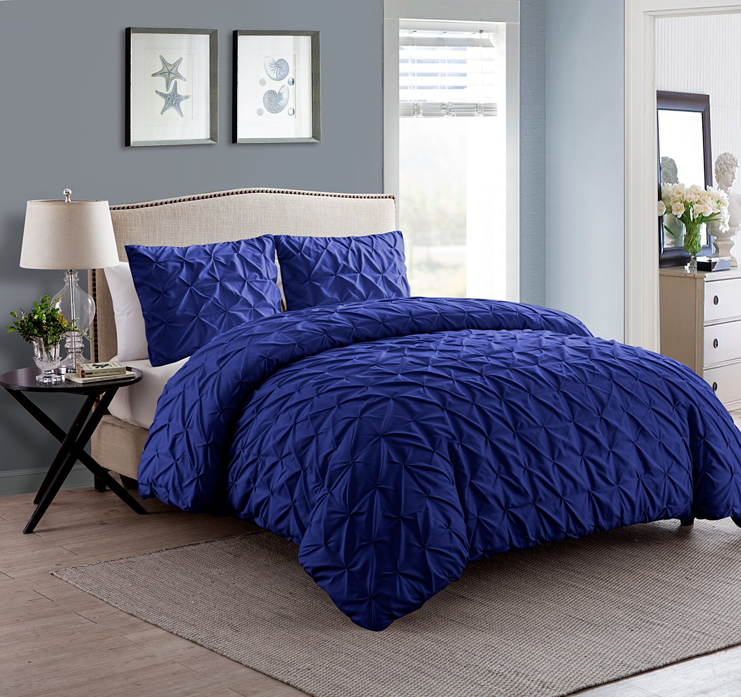 VCNY Home MAD-3DV-QUEN-IN-NV Duvet Cover Set, Queen, Navy