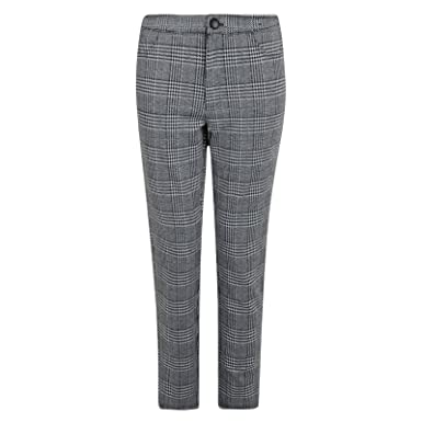 39252ab7571 LADIES TROUSERS GREY CHECK EX UK STORE SMART FORMAL WOMENS TROUSERS   Amazon.co.uk  Clothing