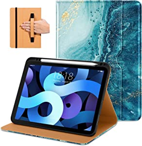 DTTO Compatible with iPad Air 4 Case, Premium Leather Business Folio Stand Cover with Built-in Apple Pencil Holder - Auto Wake/Sleep and Multiple Viewing Angles for iPad 10.9 Inch 2020, Sandy Wave