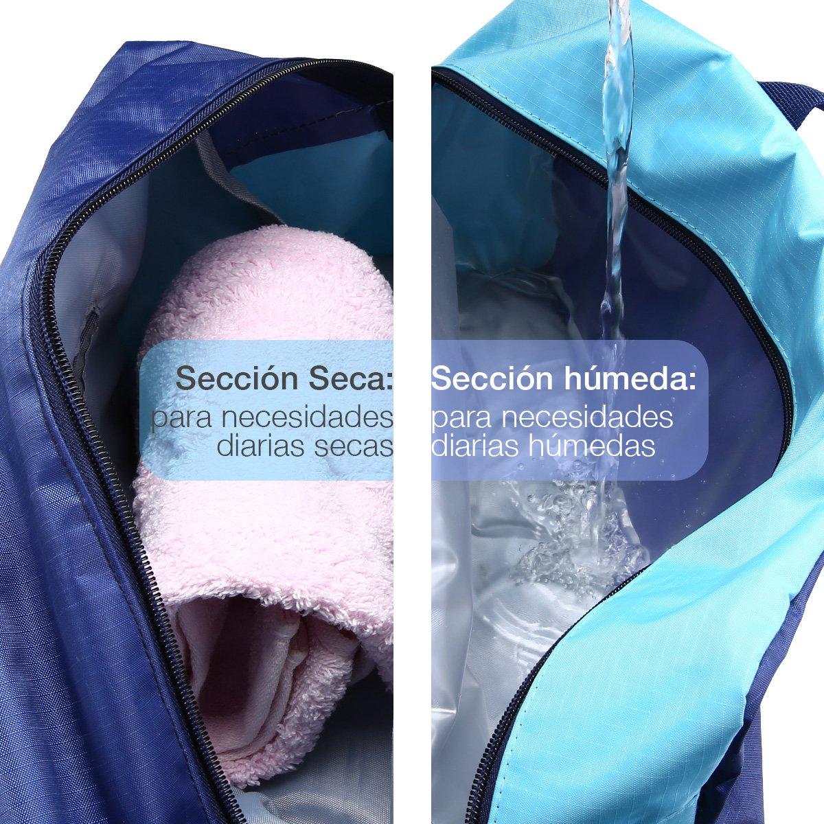 isYoung Bolsa De Playa De La Piscina Bolsa Impermeable Separación Húmeda Y Seca Del Paquete De Admisión Macho Y Hembra Bolsas De Baño De Gran Capacidad Albornoz Lavan Bolsa(Azul)