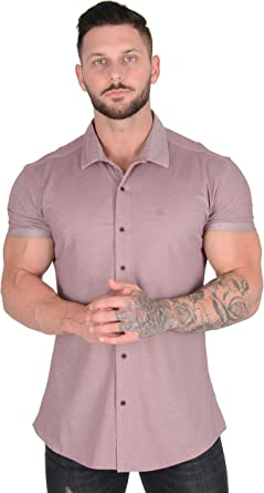 YoungLA Slim Fit Dress Shirts for Men   Athletic Fitted Button Up   Formal Short Sleeve   Casual Work 418
