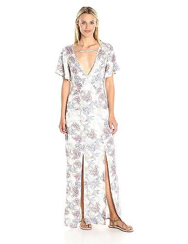 MINKPINK Women's Mysterious Floral Print V Neck Maxi Dress