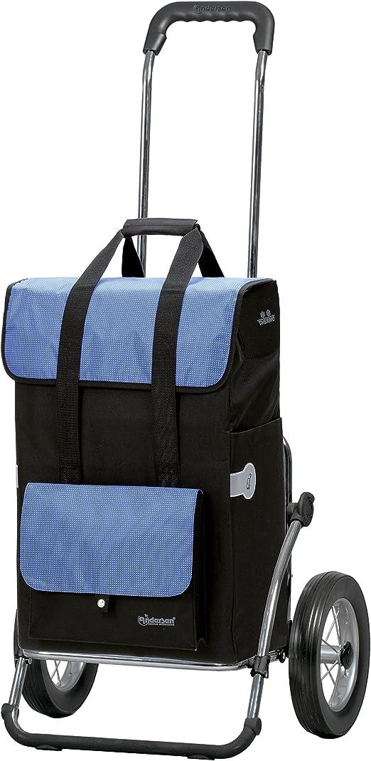 Sondermodell Andersen Einkaufstrolley Royal mit 3-Speichenrad 25 cm und Einkaufstasche Milla blau