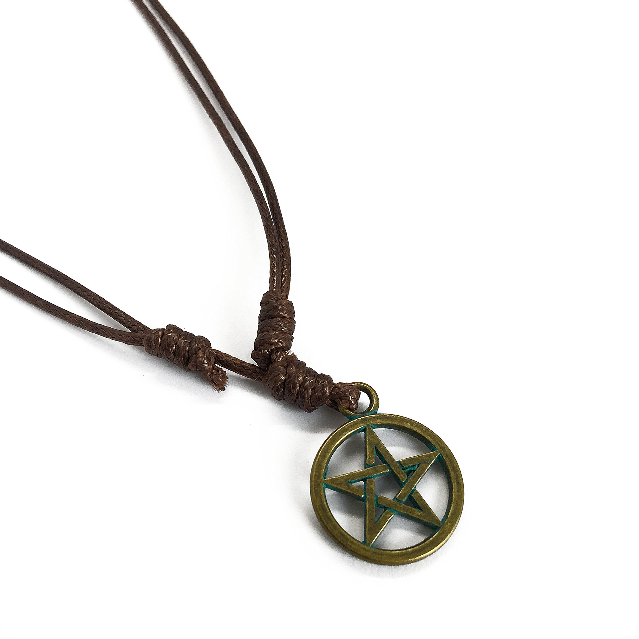 Adeley Mens Womens Pentagram Pagan Star Brass Pendant Charm Adjustable Necklace