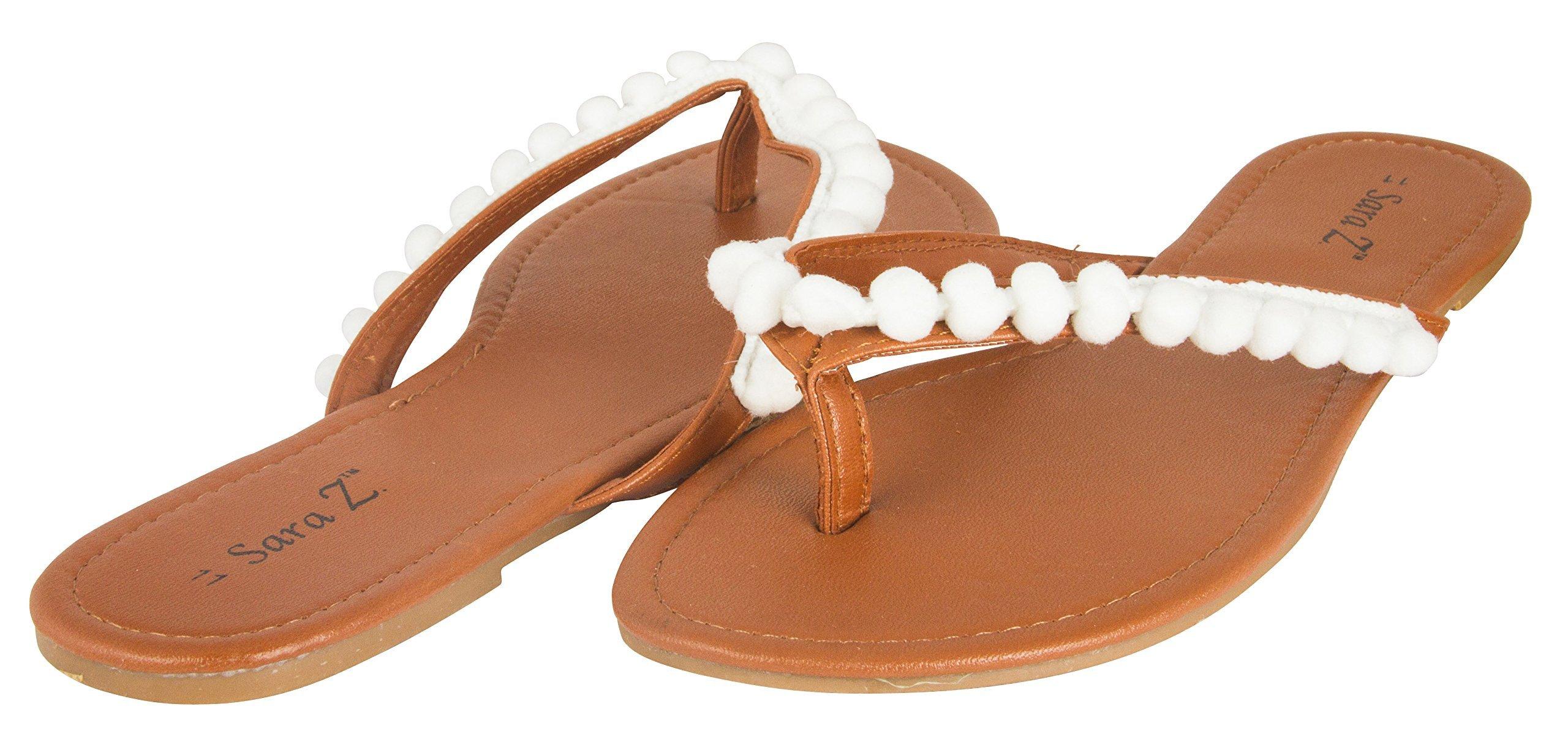 Sara Z Womens Thong Sandal Flip Flop with Pom Pom Trim Size 7/8 White