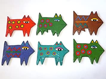 Juego de 6 piezas únicas – Imanes de gatos a mano. Papel Mache dekomagnete en