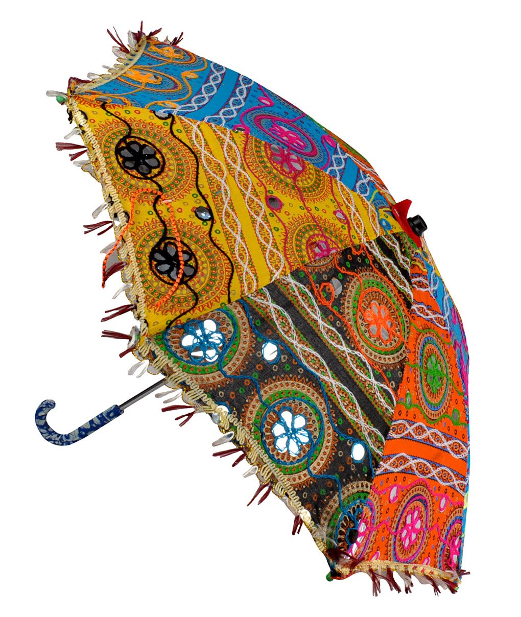Lal Haveli Handmade Embroidery Work Design Indian Umbrella 21 x 26 Inch