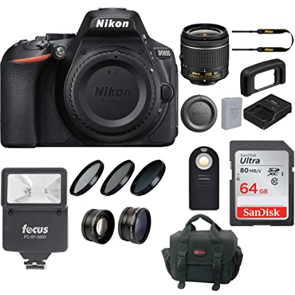 Nikon D5600 DSLR Camera with 18-55mm Lens and 64GB Memory Card Bundle