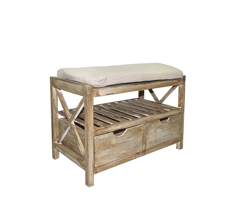 Mobili Rebecca Sitzbank Truhe Sitzkissen 2 Braun Schubladen Holz