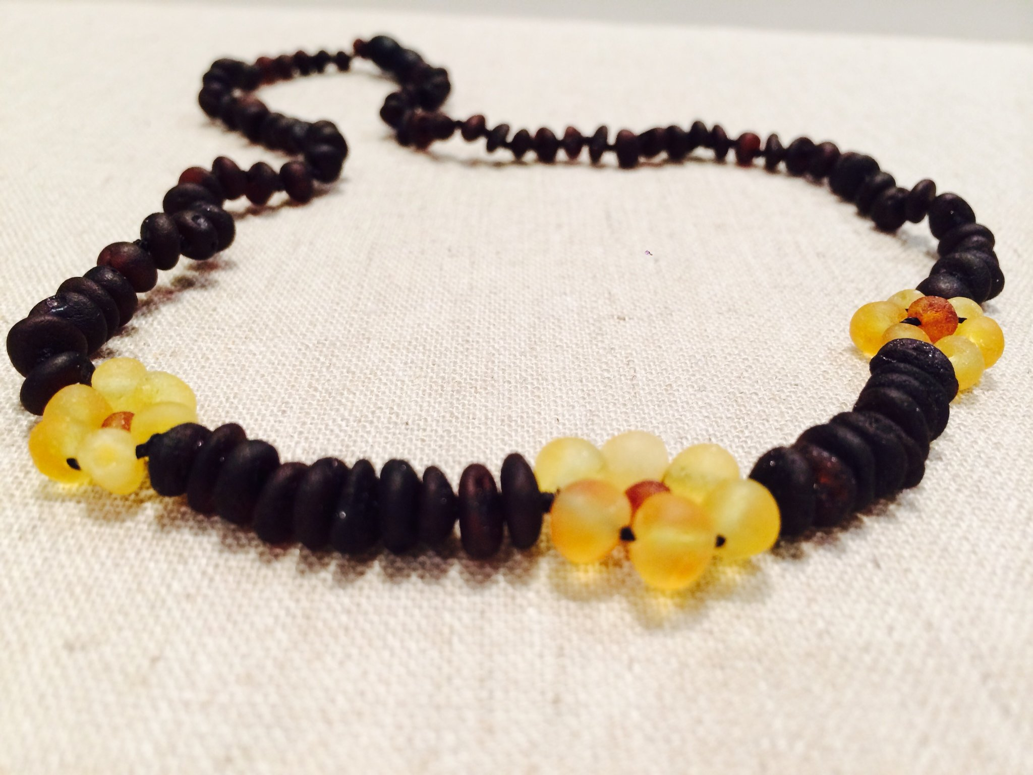 Raw 15 Inch Cherry Lemon Flower Unpolished Baltic Amber Necklace for adult, Child (Large beads Cherry Black Yellow Cognac Brown Lemon) - big kid, toddler, bub, teenager, child. Certified. by Baltic Essentials