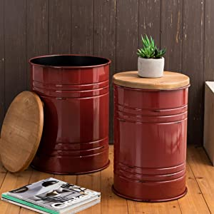 Glitzhome Rustic Storage Ottoman Seat Stool, Farmhouse End Table, Galvanized Metal Accent Side Table Toy Box Bin with Round Wood Lid for Living Room Furniture, Nesting Pieces Two, Red