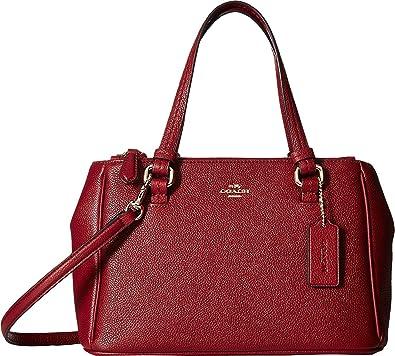 9397181d231f COACH Women s Peyton Leather Mini Jordan Double Zip Carryall Black Cheery  One Size  Handbags  Amazon.com