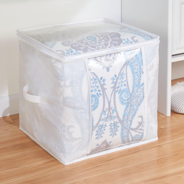 Organizadores de armarios plegables para prendas y edredones Guarda mantas cuadrado de polipropileno mDesign Juego de 4 bolsas para guardar ropa con cremallera blanco//transparente