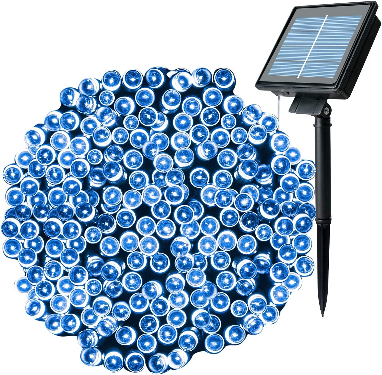 Outdoor Solar Christmas String Lights with 8 Lighting Modes, 72 Feet 200LED Waterproof Solar Powered Lights for Indoor Outside Xmas Patio Garden Yard Wedding Party Tent Tree Decor, Blue, 1 Pack