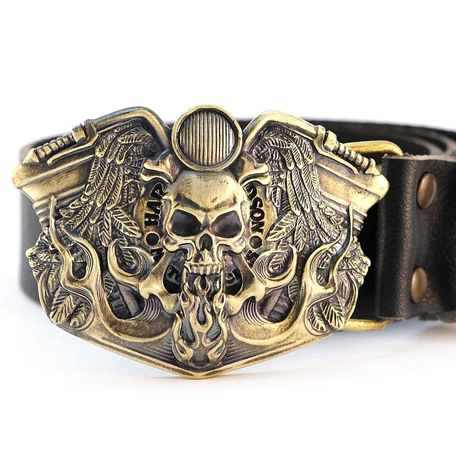 Handmade biker solid brass belt buckle with motorcycle and skull Leather belt with brass buckle Route 66