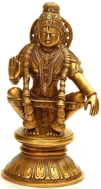 Brass Sculpture A Saint Revered as Incarnation of Dharma Ayyappan