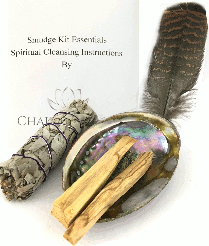 Chakra Palace Smudge Kit Essentials - Abalone Shell, Sage, Palo Santo, Feather, Instructions Spiritual Healing Meditation