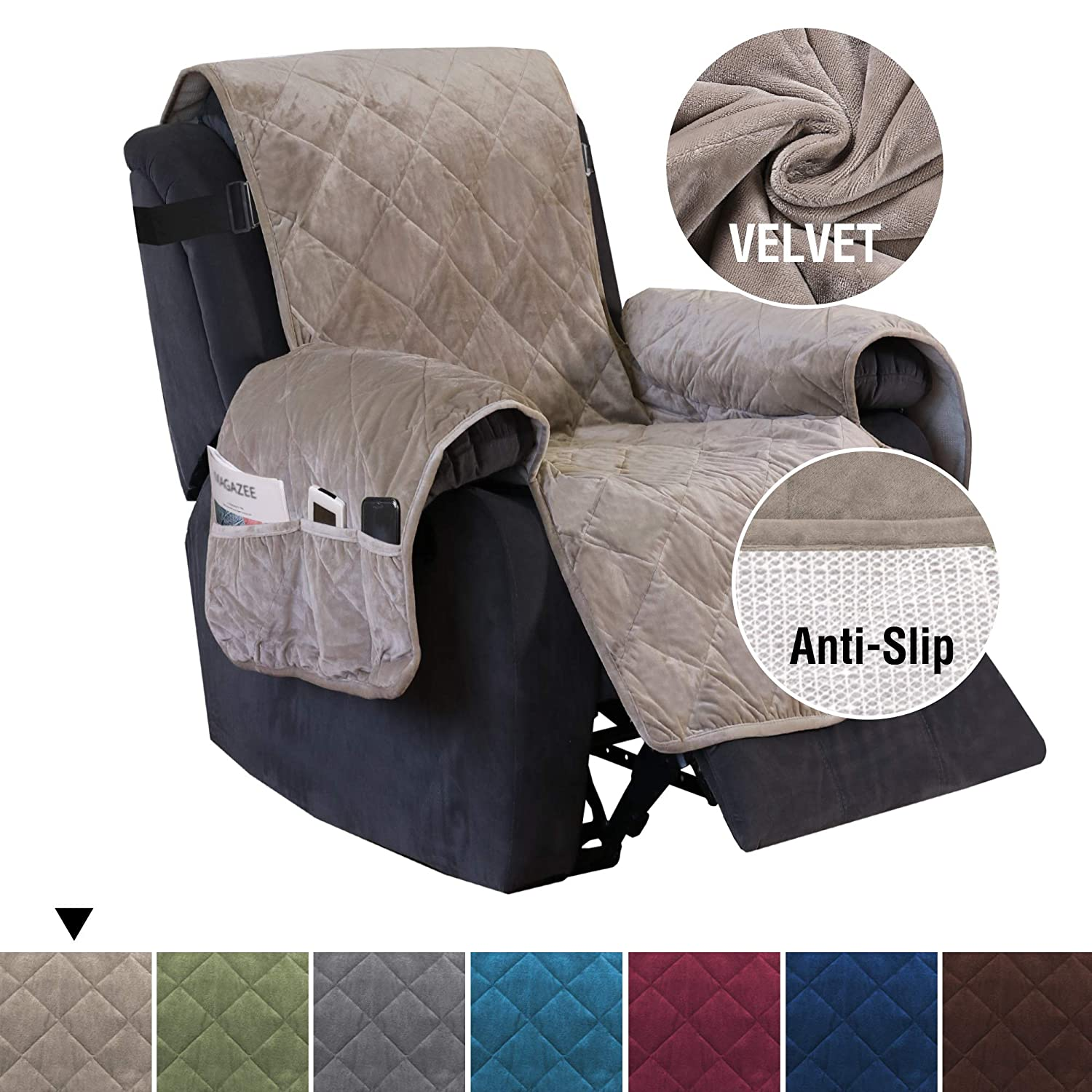 "H.VERSAILTEX Quilted Velvet Plush Recliner Slipcover Recliner Chair Cover Recliner Covers for Large Recliner, Non-Slip Furniture Protector with 2"" Straps, Seat Width Up to 28"" (Recliner: Taupe)"