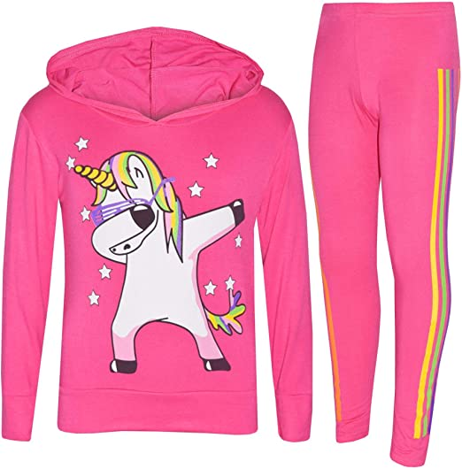 Girls Hot Pink 2 Piece Zip up Hoody Tracksuit 7 years to 12 years