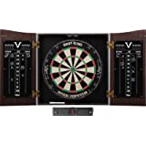 Viper Vault Cabinet & Shot King Sisal/Bristle Dartboard Ready-to-Play Bundle with Two Sets of Steel-Tip Darts, Throw Line, an