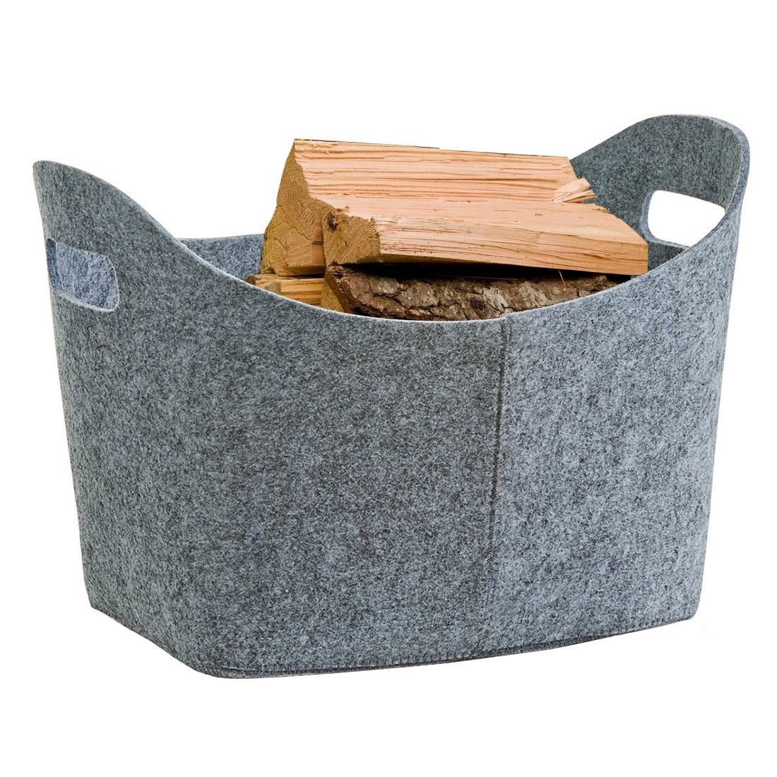 GWELL feltro cesto camino in legno borsa in feltro cesto camino legno cestino cesto Multiuso in legno Portariviste cestino con due manici grigio chiaro