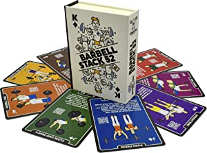 Stack 52 Barbell Exercise Cards. Weight Lifting Playing Card Game. Video Instructions Included. Bodybuilding, Strength Training, and Crossfit Workouts. Home Gym Fitness Program.