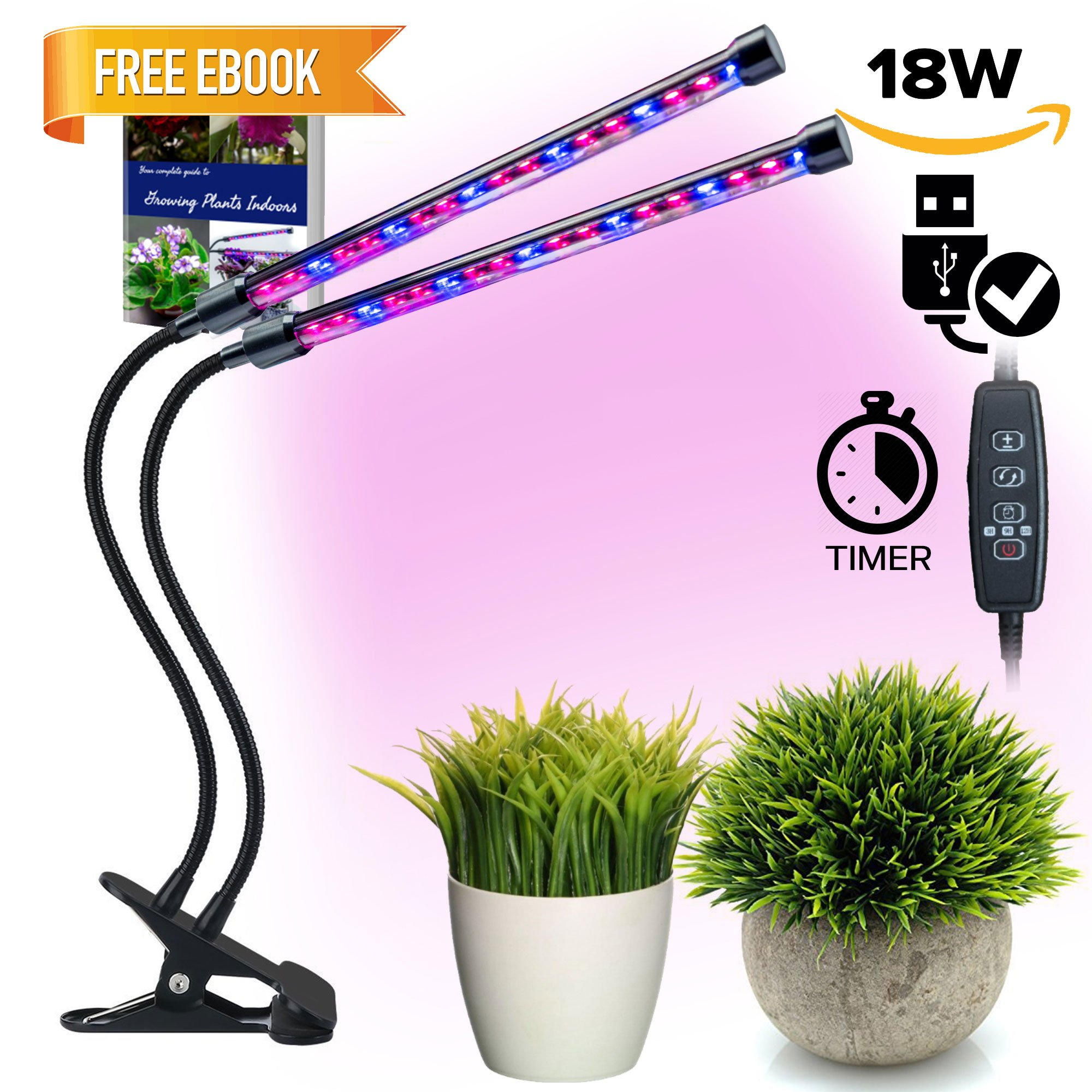 Dual Head LED Grow Lights by TMB Innovations | LED Dimmable Gooseneck Dual Head – for Indoor Plants with Red/Blue Spectrum, Adjustable Gooseneck, 3/9/12H Timer, 8 Dimming Levels [2018 UPGRADE + EBOOK]