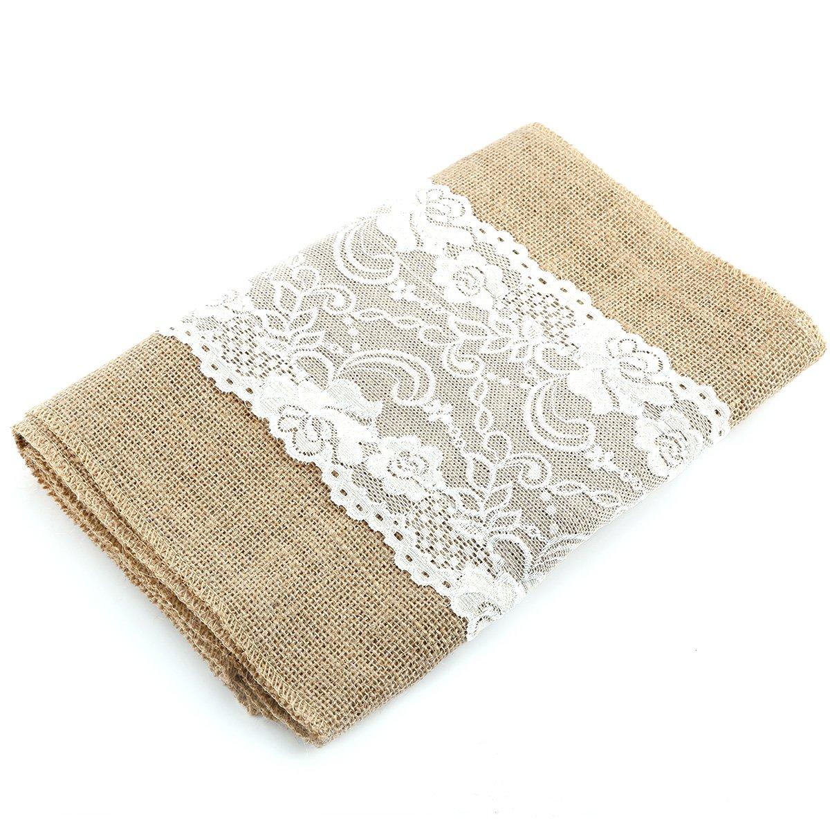 ANLADIA 30 275CM Jute Rustic Burlap Hessian Linen White LACE Trims Ribbon Craft Wedding
