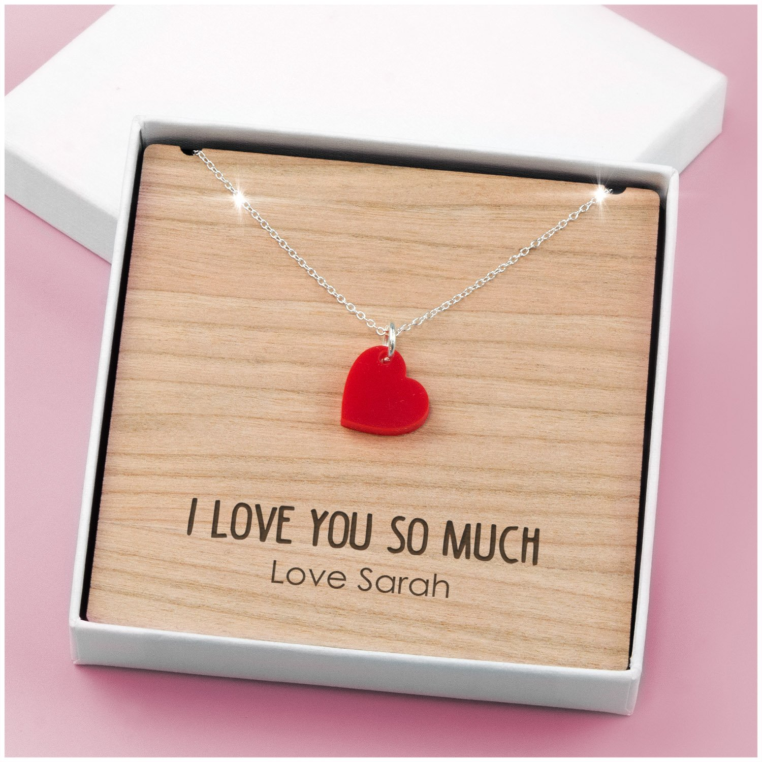 I LOVE YOU Special Engraved PERSONALISED Necklace Gift Mothers Day Mum Mummy Nan Sterling Silver 18 PERSONALISED Necklace Engraved 4mm Cherry with Presentation Gift Box Birthdays Christmas Gifts Presents