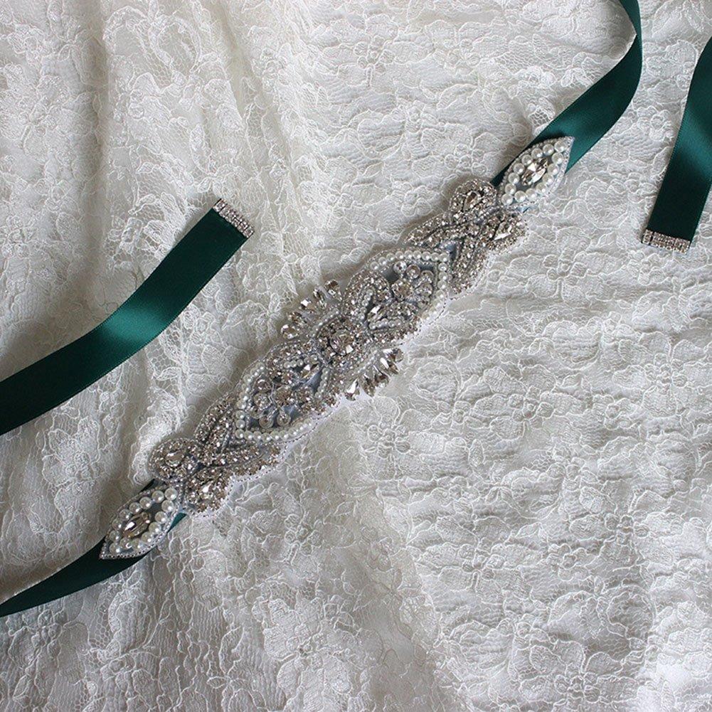 Teen Girl's Rhinestone Satin Ribbon Homecoming Dress Sash and Belt, Burgundy Dinah