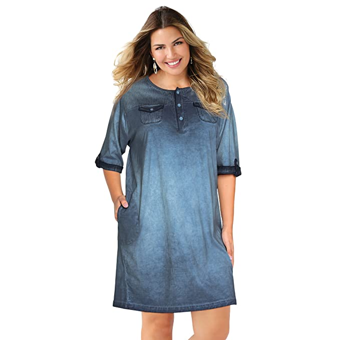 VENCA Vestido escote redondeado con tapeta y botones by VencaStyle,AZUL CLARO,XL