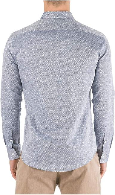 Emporio Armani Hombre Camisa BLU 40 cm: Amazon.es: Ropa y accesorios