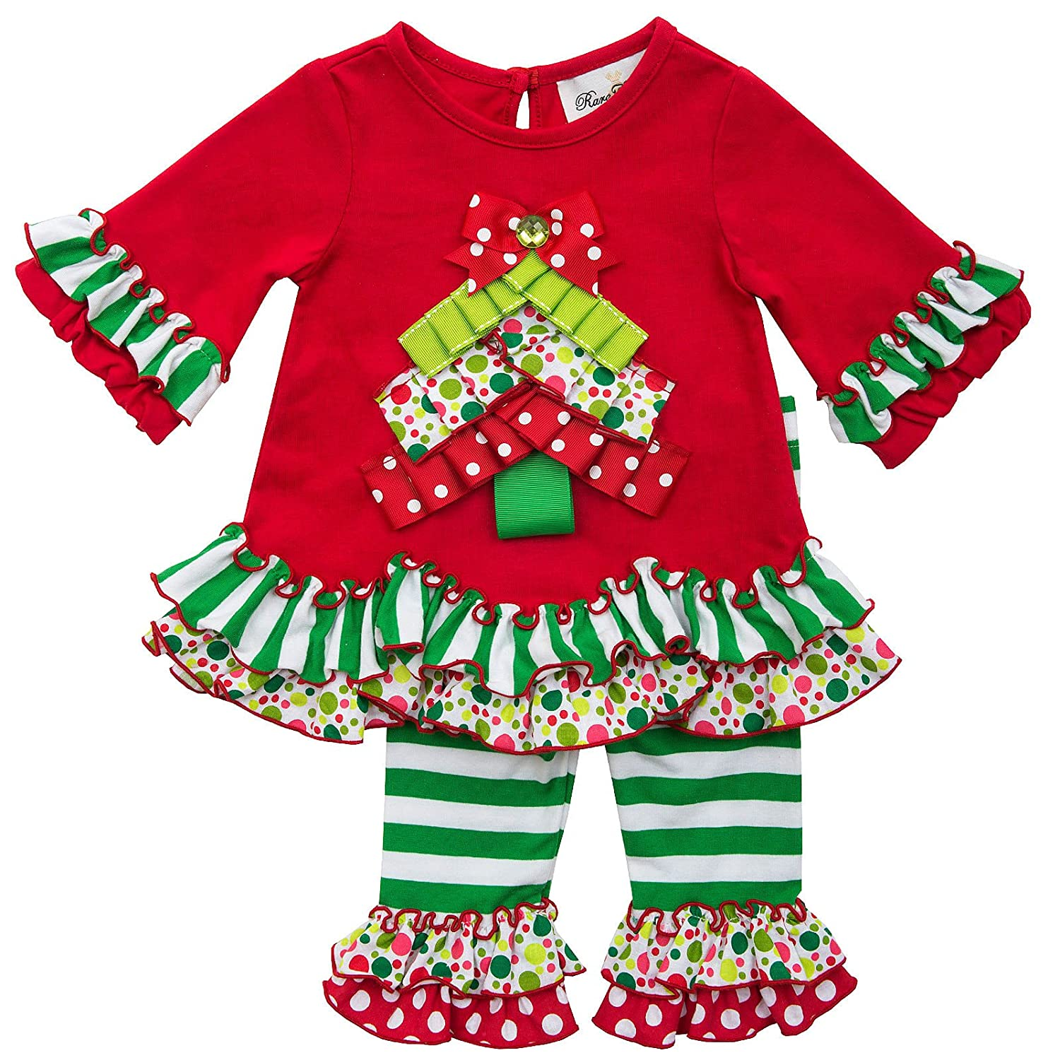 Amazon.com: Rare Editions Girls Christmas Tree Holiday Dress Outfit ...