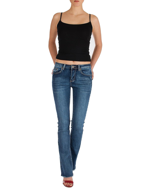Fraternel Damen Jeans Hosen Bootcut Regular Waist Stretch ausgefranst
