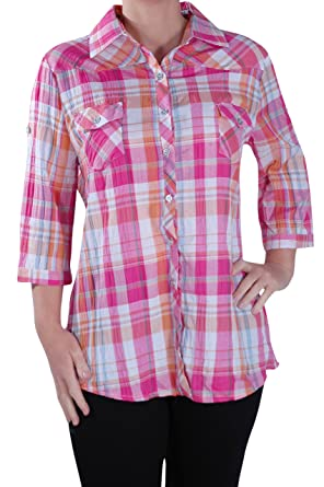 5667f0735 Eyecatch Plus - Womens Casual Checkered Blouse Ladies Check Shirt Top Pink
