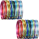 Hestya 24 Rolls Multi-Colored Aluminum Craft Wire, Flexible Metal for Art Creation and Jewelry Ornaments, 15 Gauge and 20 Gauge (Color: 12 different color, Tamaño: One size)