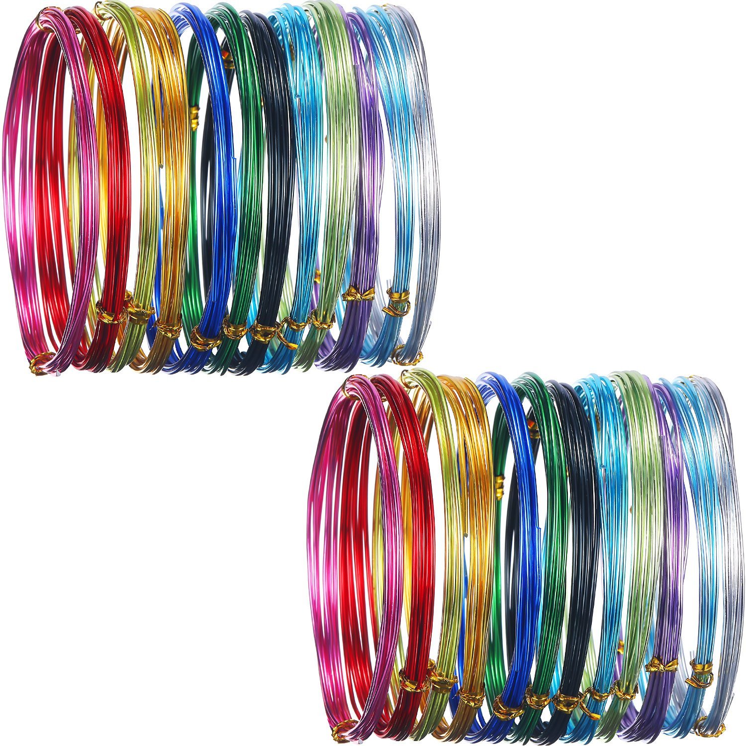 24 Rolls Multi-Colored Aluminum Craft Wire, Flexible Metal for Art Creation and Jewelry Ornaments, 15 Gauge and 20 Gauge Hestya