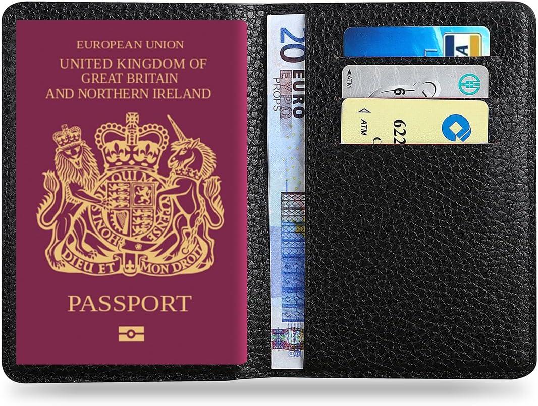 MPTECK @ Negro Funda Pasaporte porta pasaporte de cuero PVC Cartera pasaporte piel Caja Sostenedor Cubierta Organizador Protector para tarjeta de crédito billete Tarjetas Identificación Viaje: Amazon.es: Equipaje