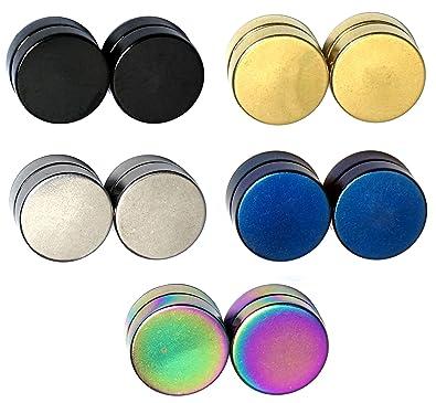 Lote de 5 dilataciones magnéticas, sin agujero, ilusión óptica, acero inoxidable, unisex