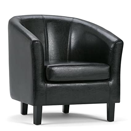 Simpli Home Austin Faux Leather Accent Tub Chair Black  sc 1 st  Amazon.com & Amazon.com: Simpli Home Austin Faux Leather Accent Tub Chair Black ...