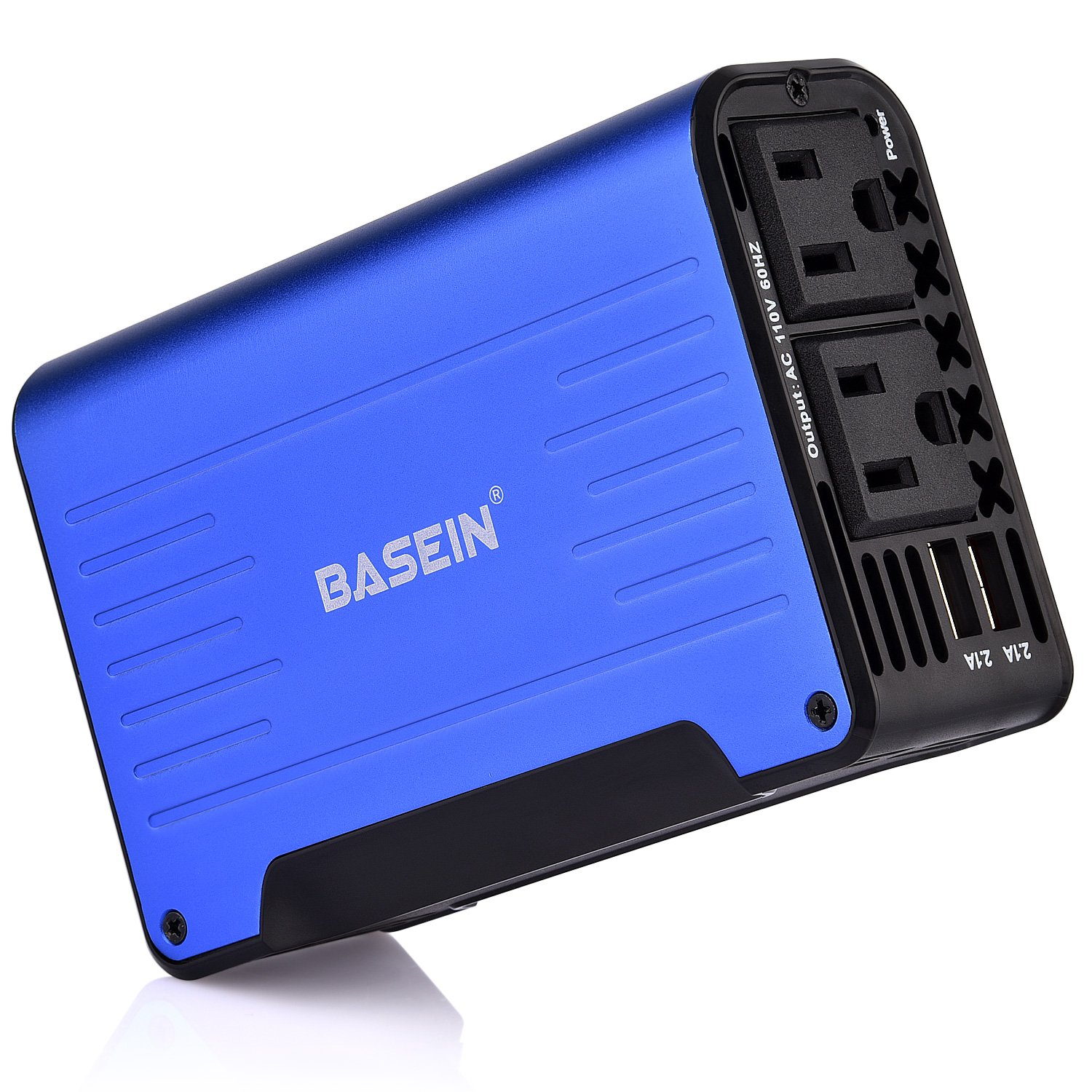 BASEIN 300W Car Power Inverter 12V DC to 110V AC Adapter with 4.2A Dual USB Car Inverter USB Charger, Newest Design Power inverter- Blue