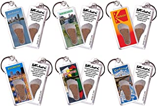 product image for Rochester FootWhere Keychains. 6 Piece Set. Authentic Destination Souvenir acknowledging Where You've Set Foot. Genuine Soil of Rochester Inside Foot Cavity. Made in USA
