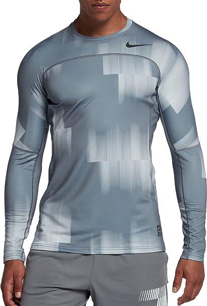 5cfec610 Nike Men's Pro Hyperwarm Shirt (Cool Grey/Gym Reddkgry, Large)