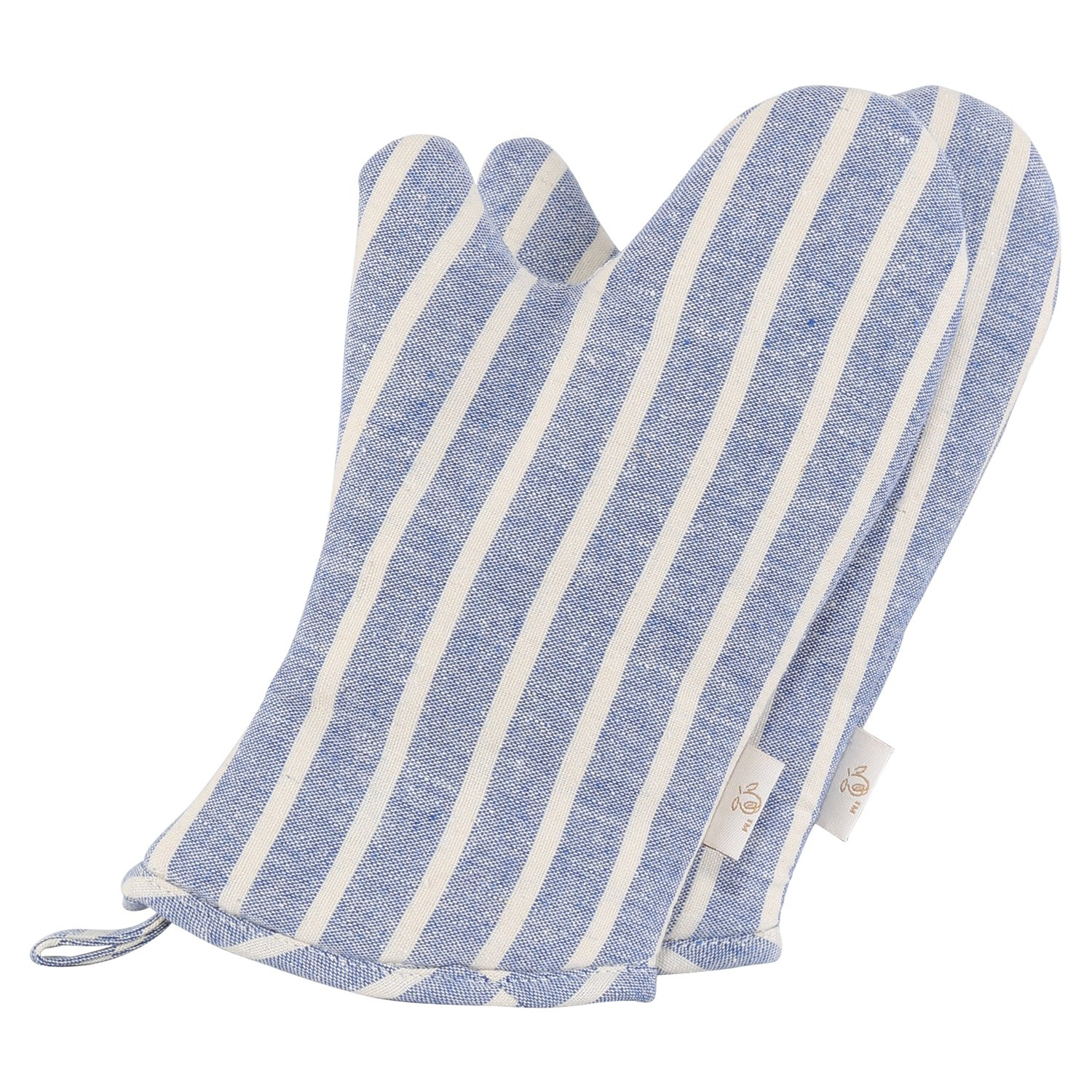 Neoviva Denim Quilted Heat Resistant Kid's Oven Mitt for Play Kitchen, Set of 2, Chalk Striped Cosmic Sky