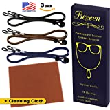 Eyeglasses Chains PREMIUM ECO LEATHER [Pack of 3 Cords +1 Cleaning Cloth] Eyeglasses Chain | Cords| Holder | Retainer | Glasses Strap | Lanyard Glasses Necklace Holder For Car