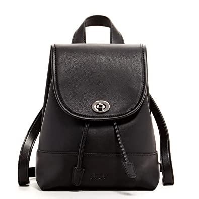 042bbfa127b9 Mini Leather Backpack Purse For Women Black Small Cute Fashion Backpacks  Vintage Style Back pack Girls