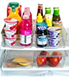 [Premium] Misc Home Refrigerator Organizer Bins - 2 Large Stackable Fridge Organizer Bins with Handles and 2 Nesting Fridge Bins w/ Lids - For Fridge Freezer and Kitchen Pantry Organizer Bins