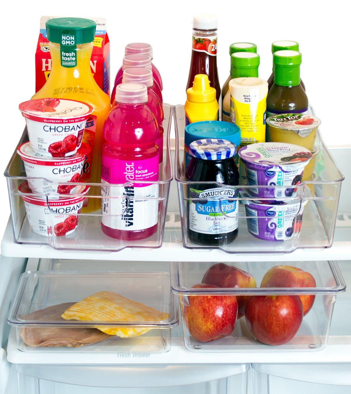 Misc Home [Premium] Refrigerator Organizer Bins – 2 Large Stackable Fridge Organizer Bins with Handles and 2 Nesting Fridge Bins w/Lids – For Fridge Freezer and Kitchen Pantry Organizer Bins